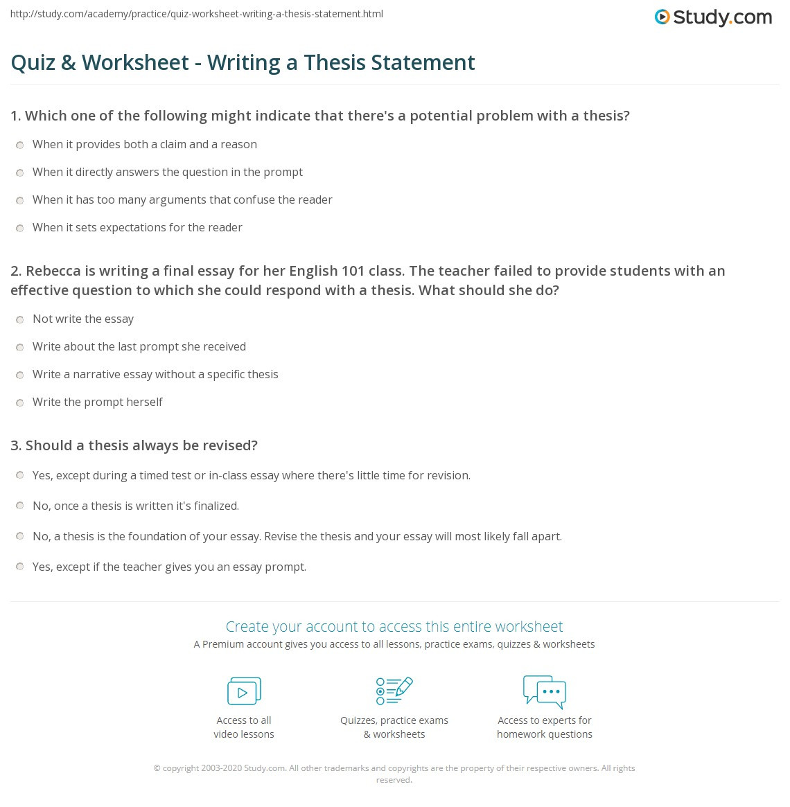 Thesis Statement Worksheet High School Quiz & Worksheet Writing A thesis Statement