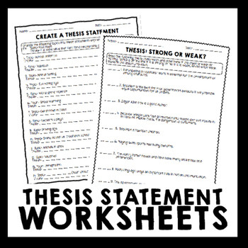 Thesis Statement Worksheet High School thesis Statement Worksheet Packet & Printables