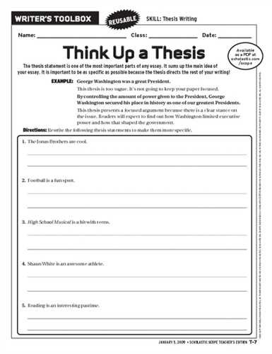Thesis Statement Worksheet High School Writing thesis Statement Invent Media