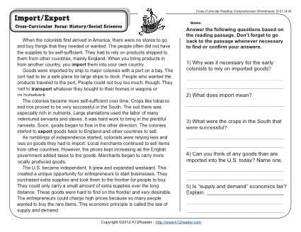 Third Grade Economics Worksheets Import Export
