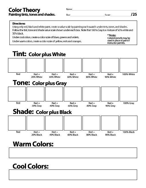 Tone Worksheets High School Creating Color Wheel Easy Activity Plus Bonus Tint tone