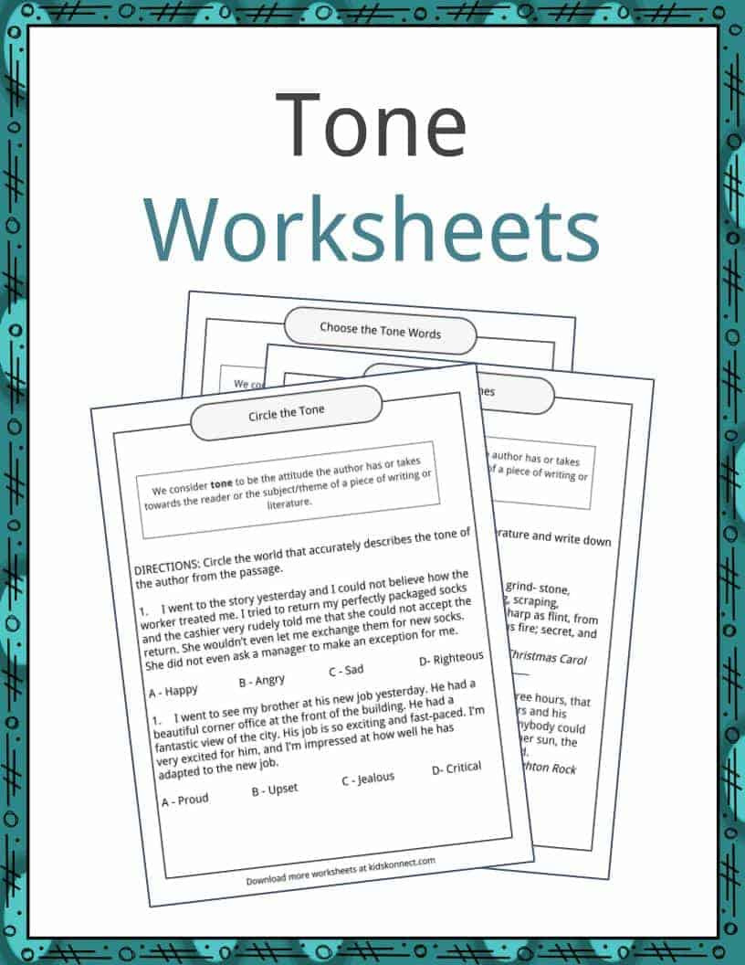 Tone Worksheets High School tone Examples Definition and Worksheets