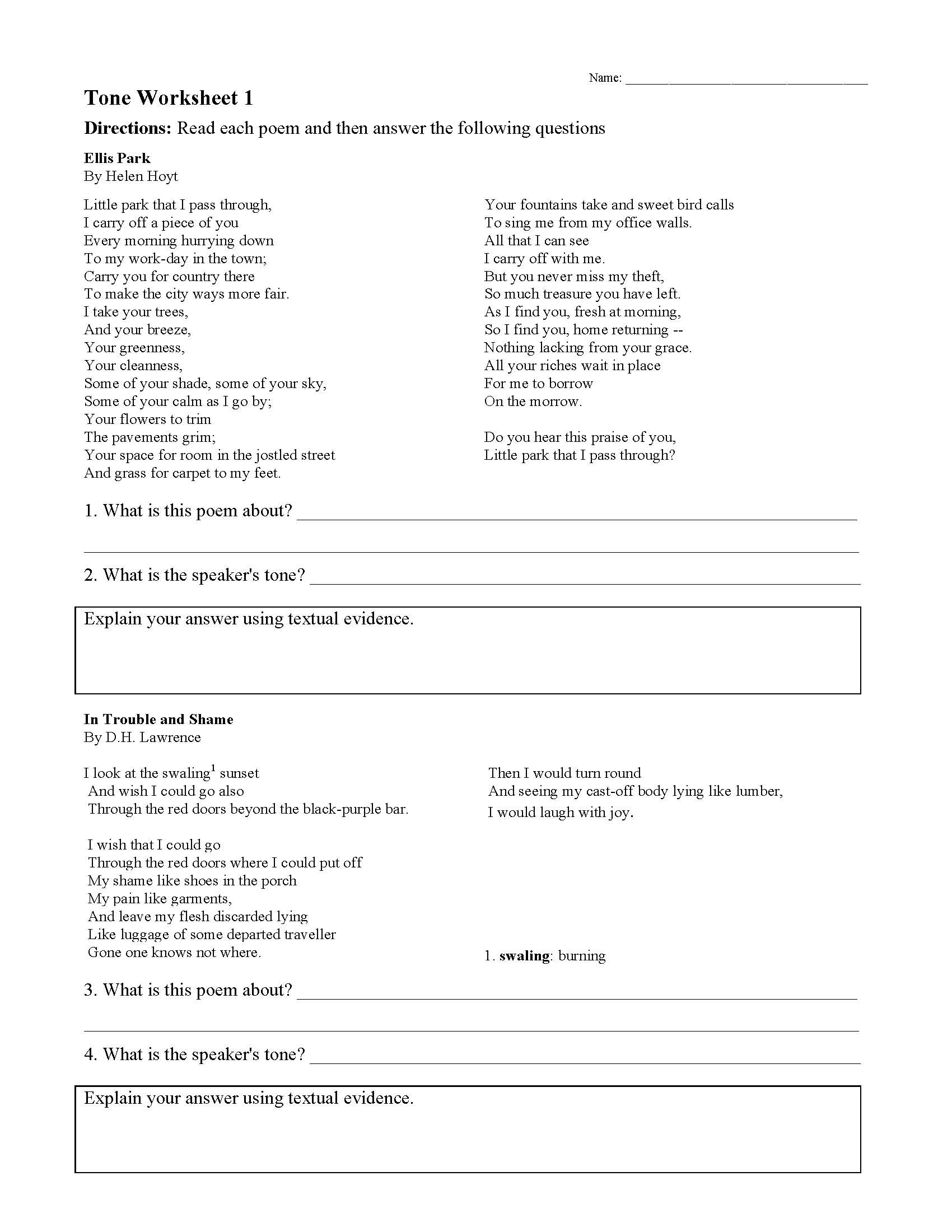 Tone Worksheets High School tone Worksheets