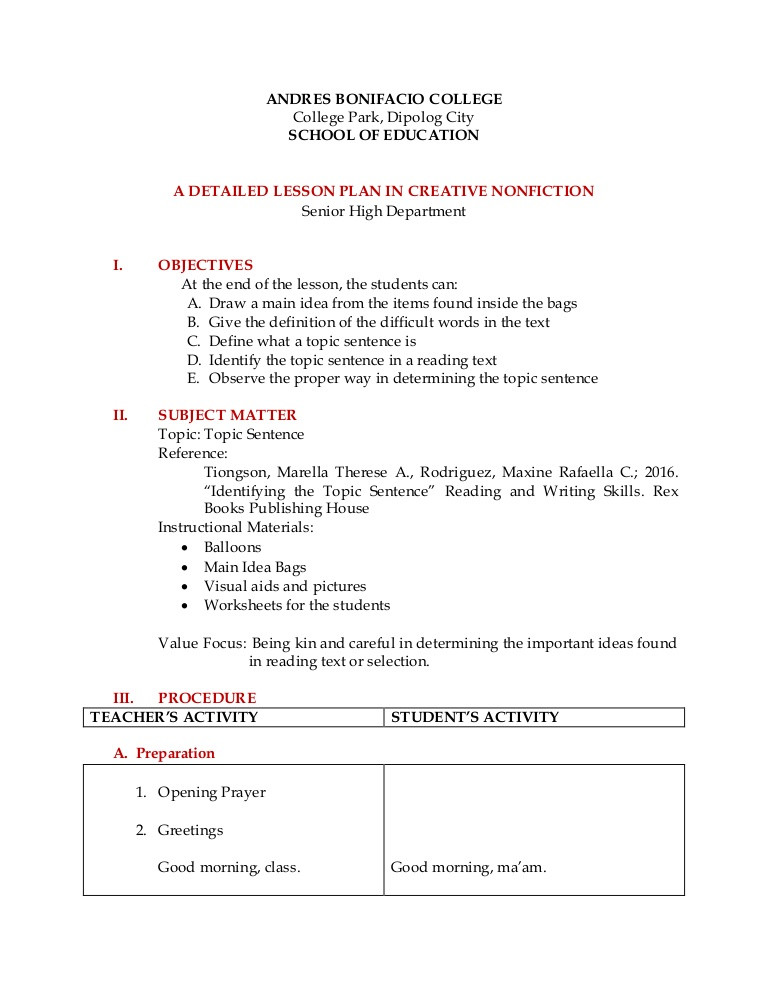 Topic Sentence Worksheet High School Detailed Lesson Plan Reading and Writing topic Sentence