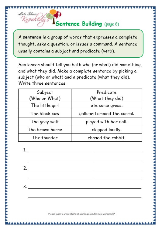Topic Sentence Worksheet High School Grade Grammar topic Sentence Building Worksheets Lets
