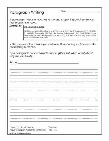 Topic Sentence Worksheet High School Paragraph Writing Worksheet Worksheets