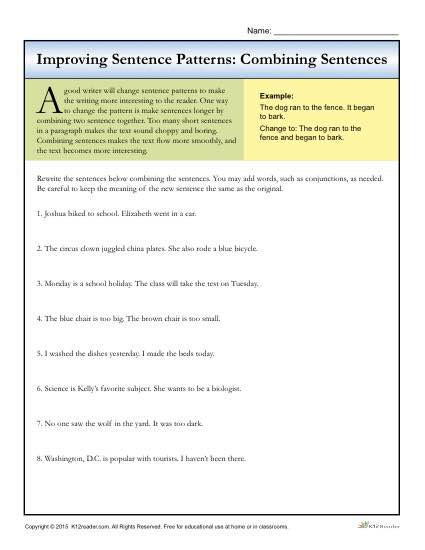 Topic Sentence Worksheet High School Sentence Patterns Bining Sentences