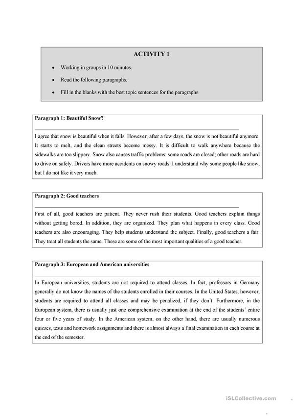 Topic Sentence Worksheet High School Writing A topic Sentence English Esl Worksheets for