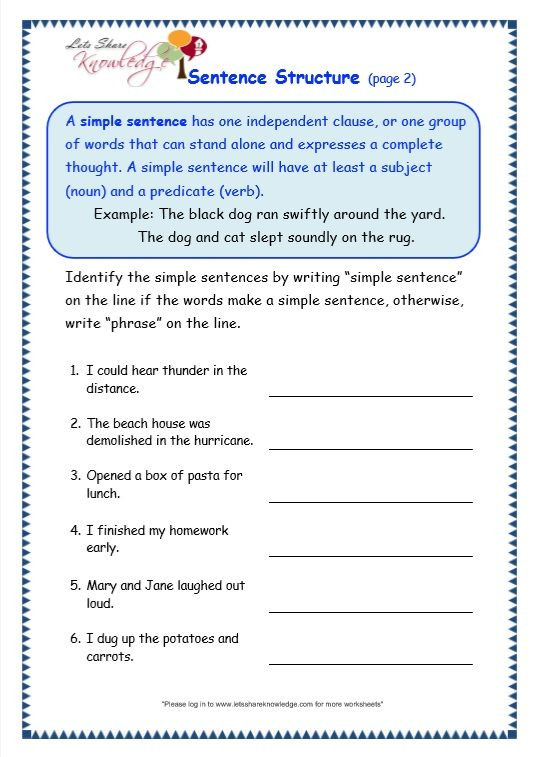 Topic Sentence Worksheets High School Grade Grammar topic Sentence Structure Worksheets