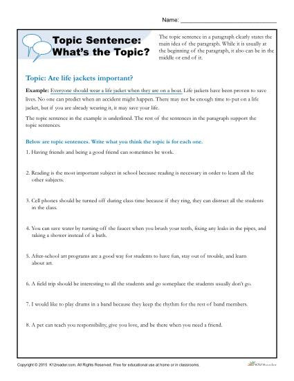 Topic Sentence Worksheets High School topic Sentence What S the topic