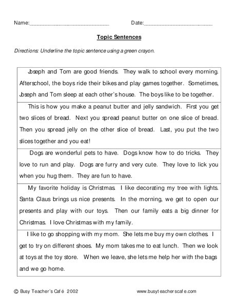 Topic Sentence Worksheets High School topic Sentences Worksheet for 3rd Grade Lesson Planet