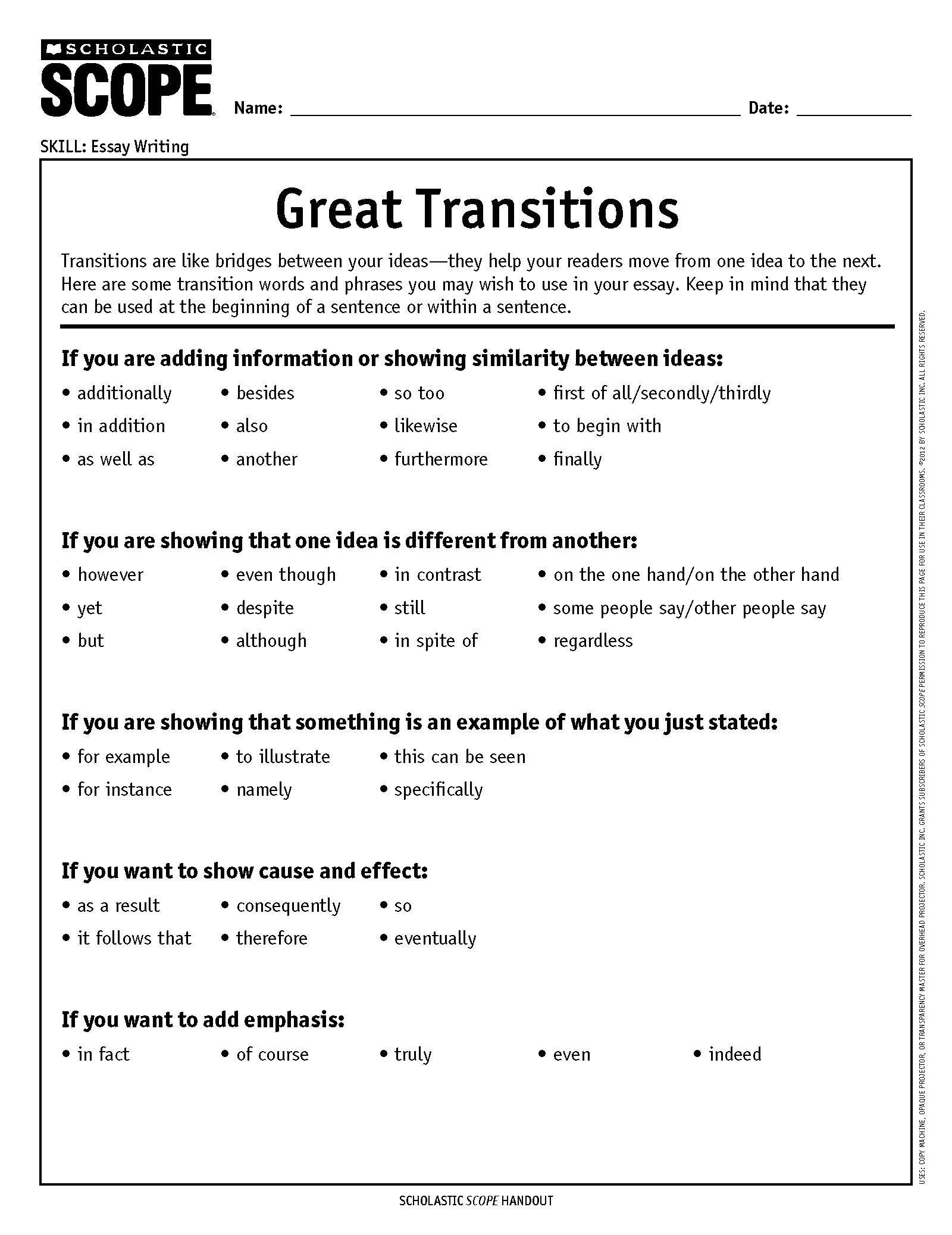 Transition Words Worksheet 3rd Grade How to Choose the Perfect Transition Word or Phrase
