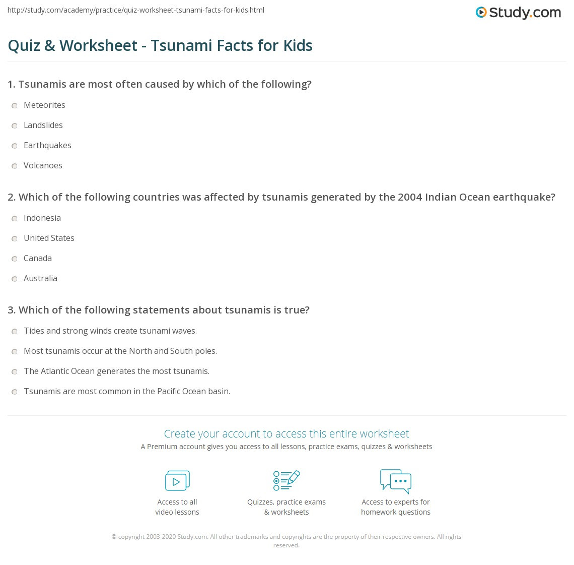 Tsunami Worksheet High School Quiz & Worksheet Tsunami Facts for Kids