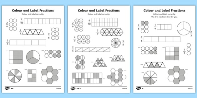 Unit Fractions Worksheet 5th Grade Colour and Label Fractions Worksheet Teacher Made Non Unit