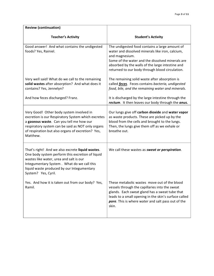 Urinary System Worksheet High School Objectives Lesson Plan Urinary System