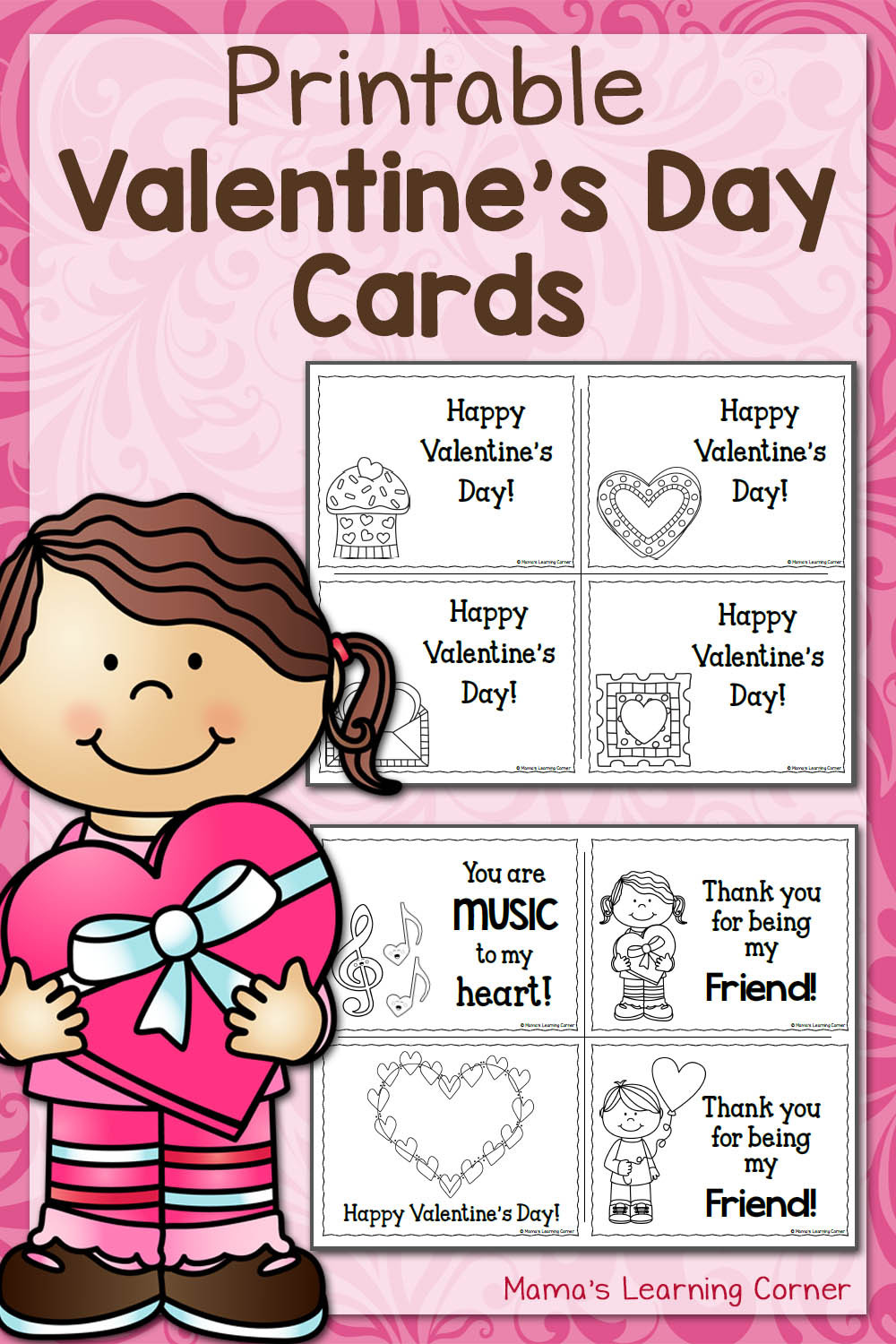Valentine Day Worksheets First Grade Printable Valentine S Day Cards Mamas Learning Corner