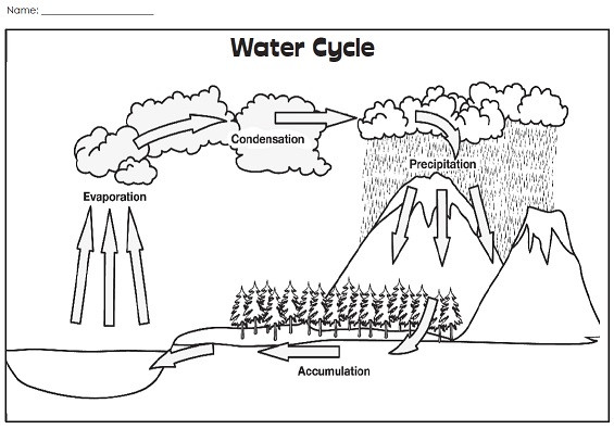 Water Cycle 4th Grade Worksheets A Water Cycle Illustration