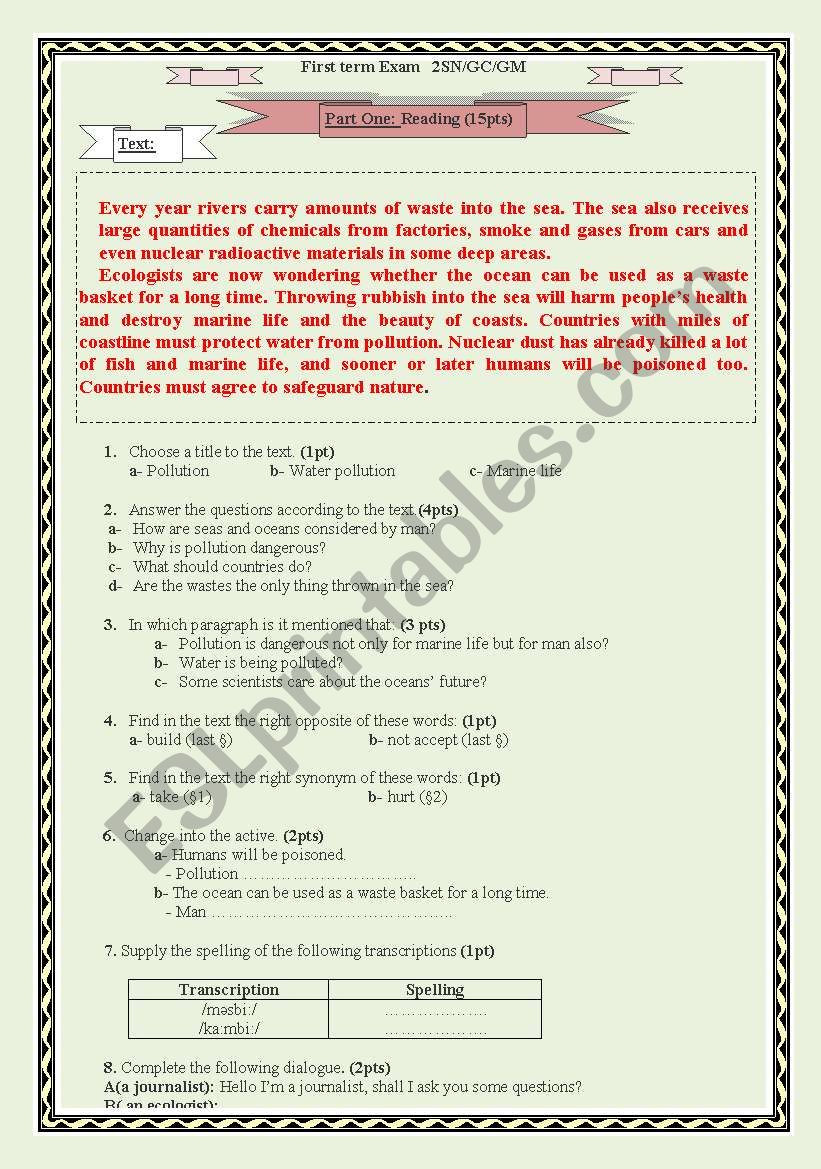 Water Pollution Worksheets High School Water Pollution A Test Paper for 2 as Algerian High School