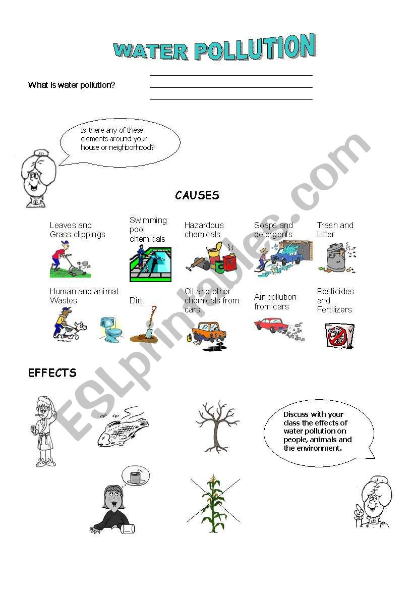 Water Pollution Worksheets High School Water Pollution Esl Worksheet by Paisita