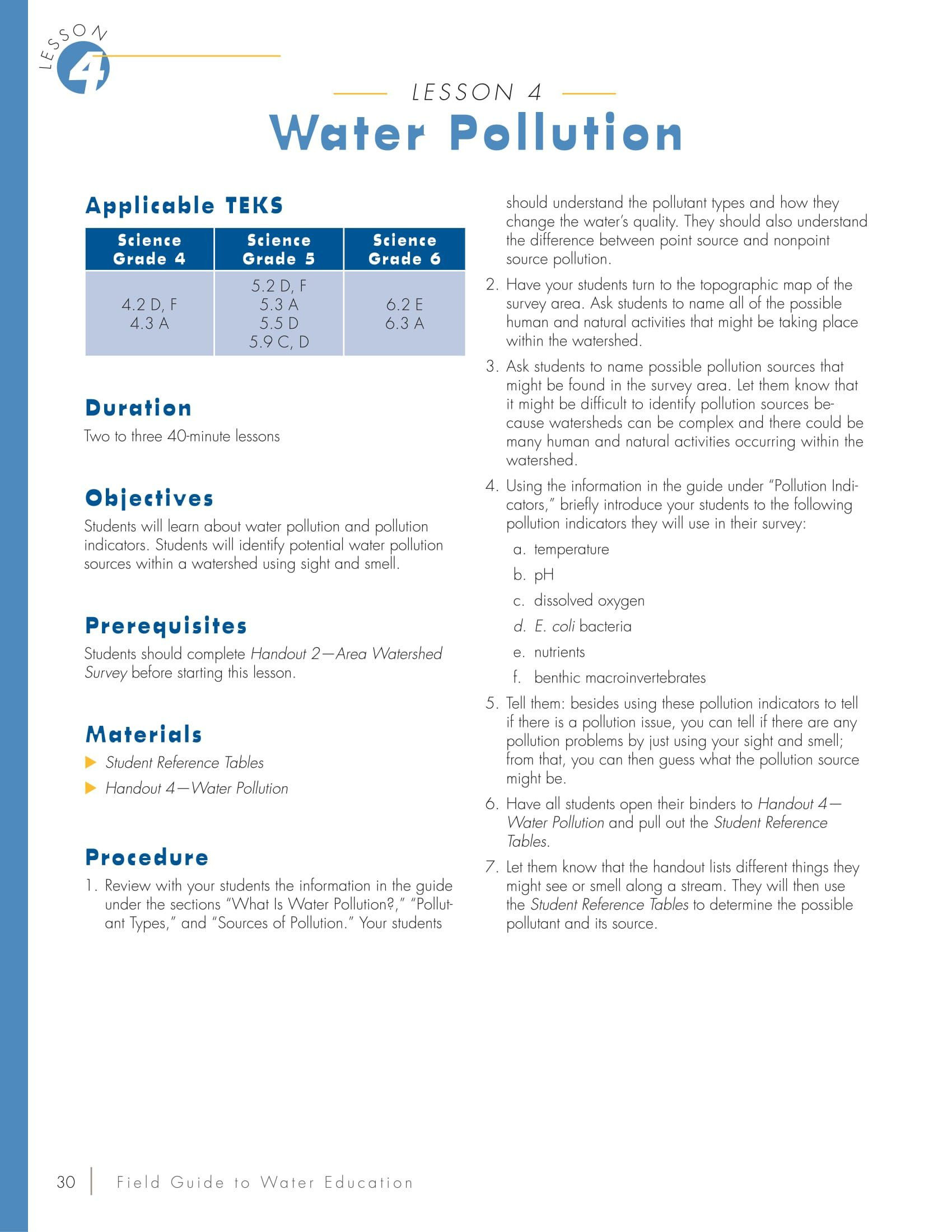 Water Pollution Worksheets High School Water Pollution Lesson Plan