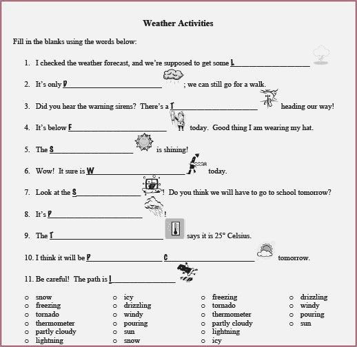 Weather Worksheet High School 4th Grade Weather Worksheets Free Library for Middle School