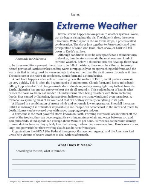 Weather Worksheet High School 6th Grade Reading Prehension Worksheets Extreme Weather
