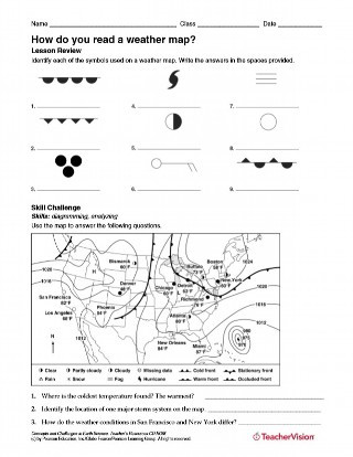 Weather Worksheet High School How Do You Read A Weather Map Weather Science Printable