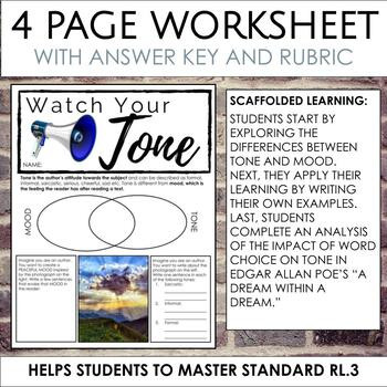 Word Choice Worksheets High School Distance Learning tone Worksheets for Middle and High School Ela