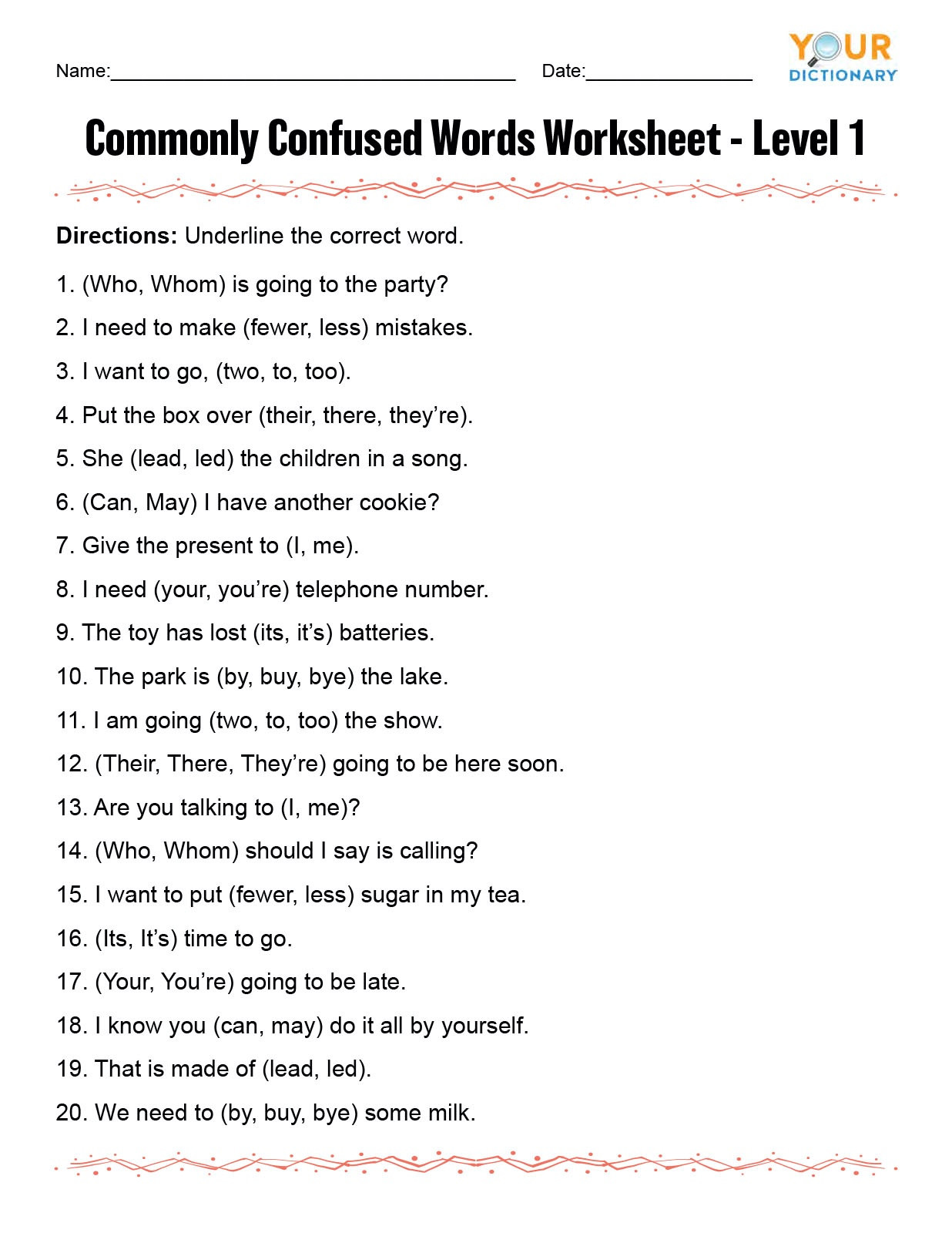 monly confused words worksheet1se