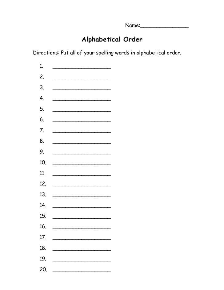 Words In Alphabetical order Worksheets Alphabetical order Homework —
