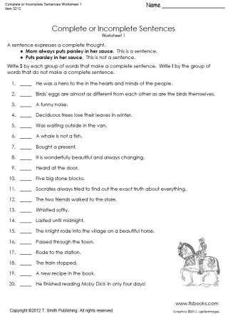 Writing A Complete Sentence Worksheets Plete or In Plete Sentences Worksheet 1