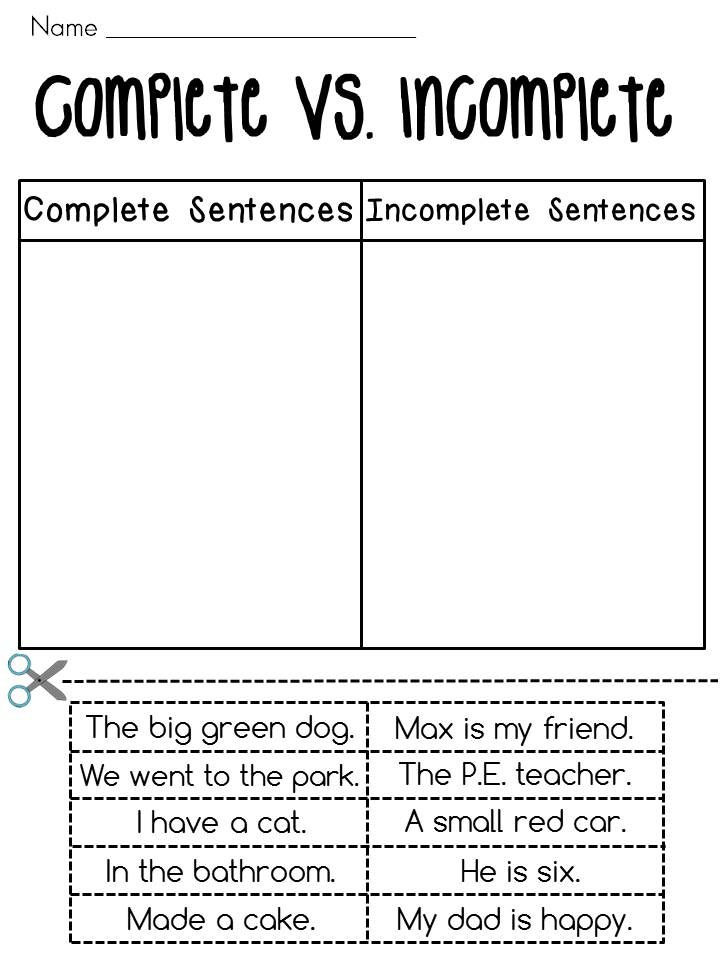 writing a plete sentence worksheet be