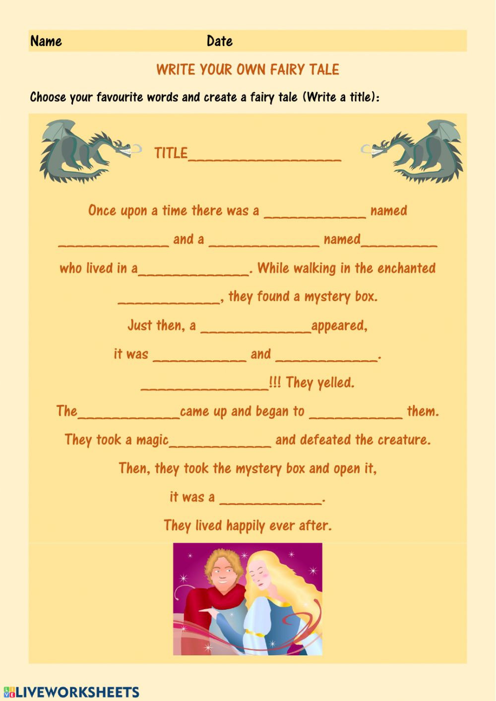 Writing A Fairy Tale Worksheet Make Your Own Fairy Tale Worksheet