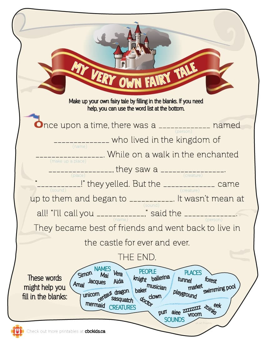 Writing A Fairy Tale Worksheet Write Your Own Fairy Tale with Our Fun Mad Lib