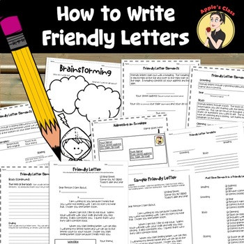 Writing A Friendly Letter Worksheet Friendly Letter Template and Lesson Plan by Apple S Class