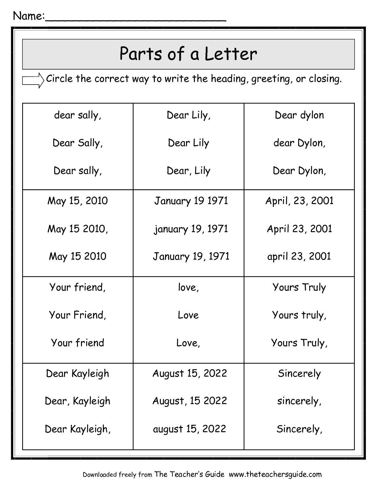 Friendly Letter Worksheets from The Teacher s Guide