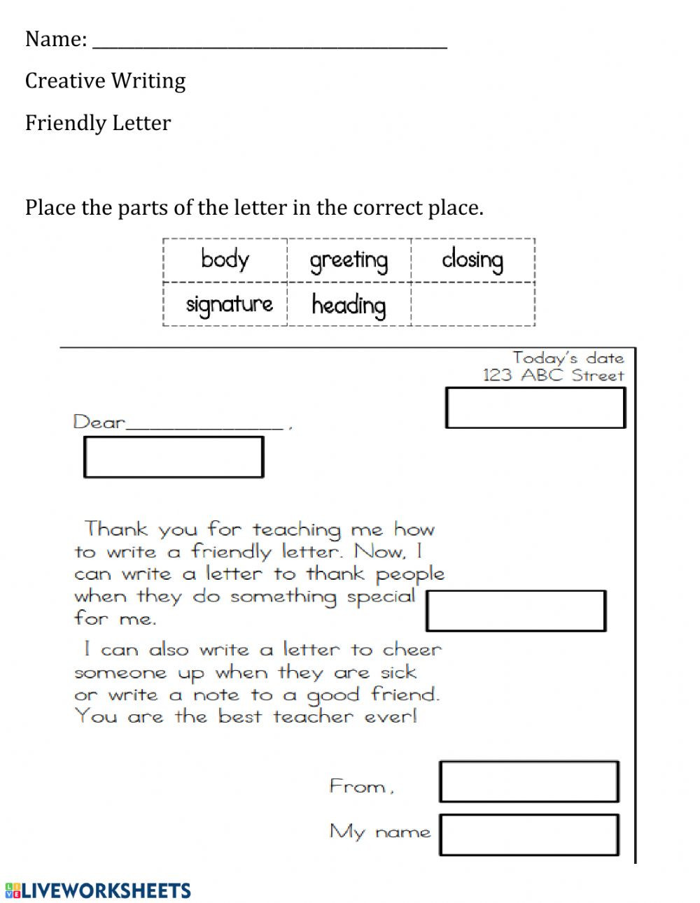 Writing A Friendly Letter Worksheet Parts Of the Friendly Letter Worksheet