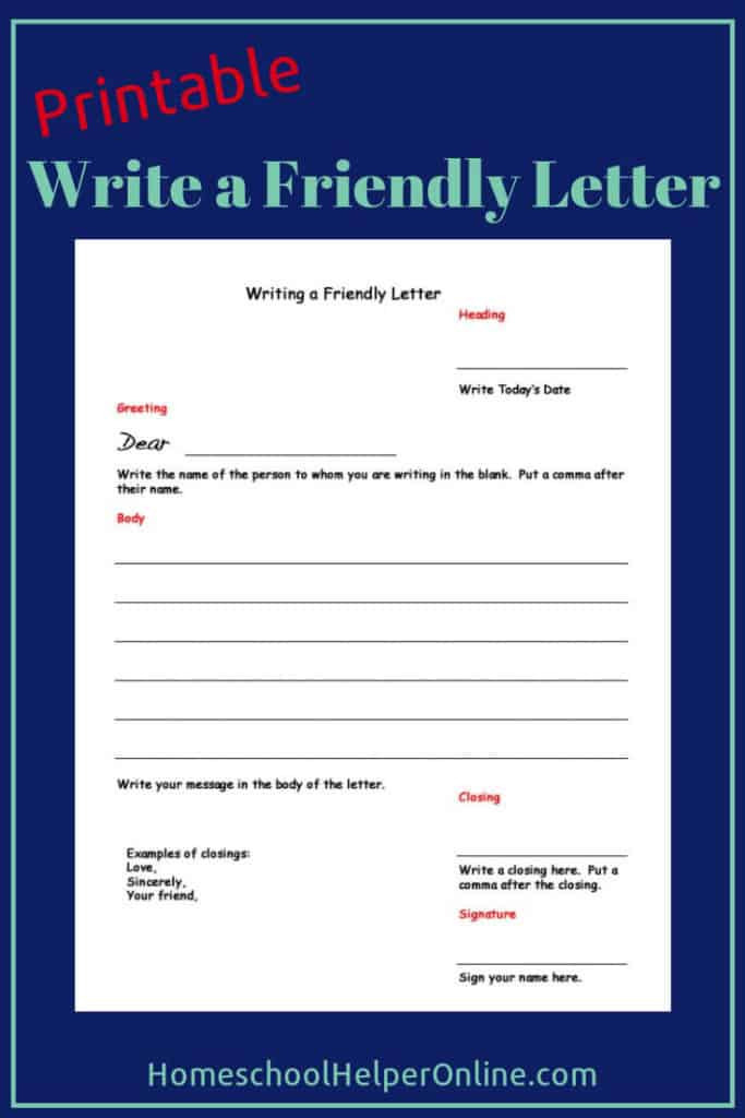 Writing A Friendly Letter Worksheet Writing A Friendly Letter Worksheet Homeschool Helper Line