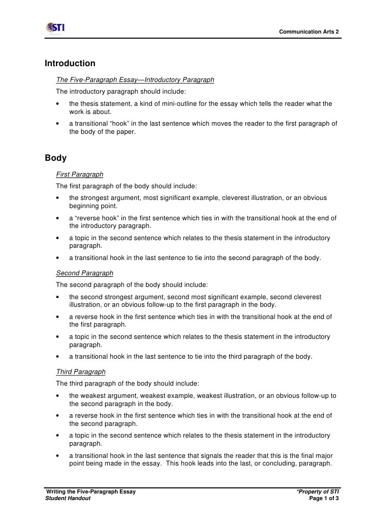 writing the fiveparagraph essay shandout 1 728