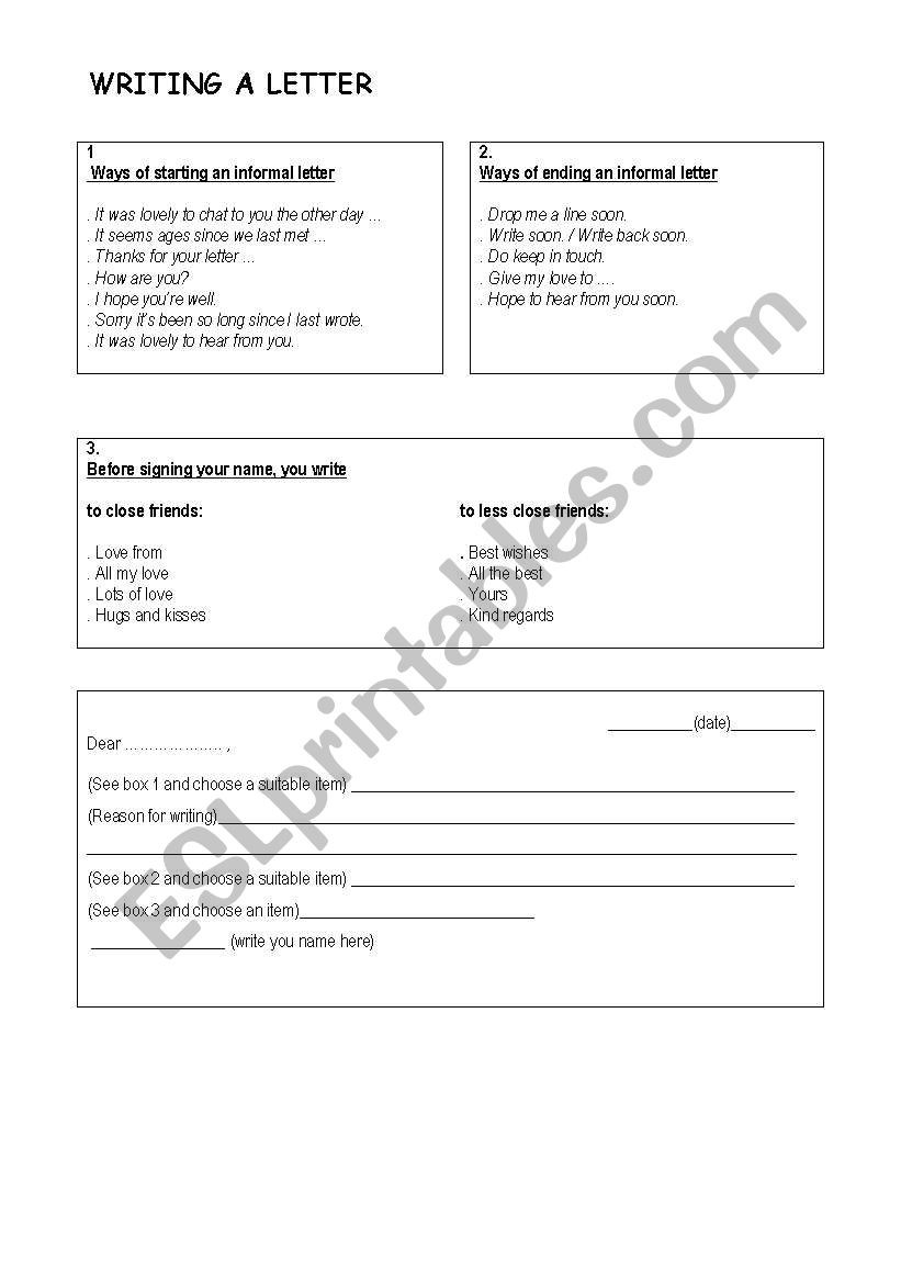 Writing A Letter Worksheet Writing A Letter Esl Worksheet by Teresasantasnoites