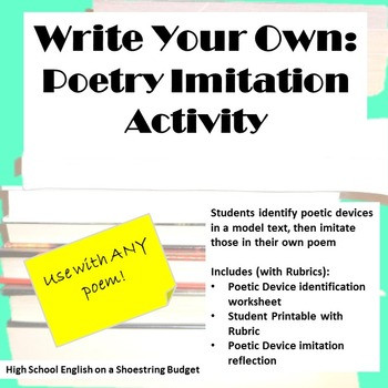 Writing A Poem Worksheet Write Your Own Poetry Imitation Writing Activity for Any Poem