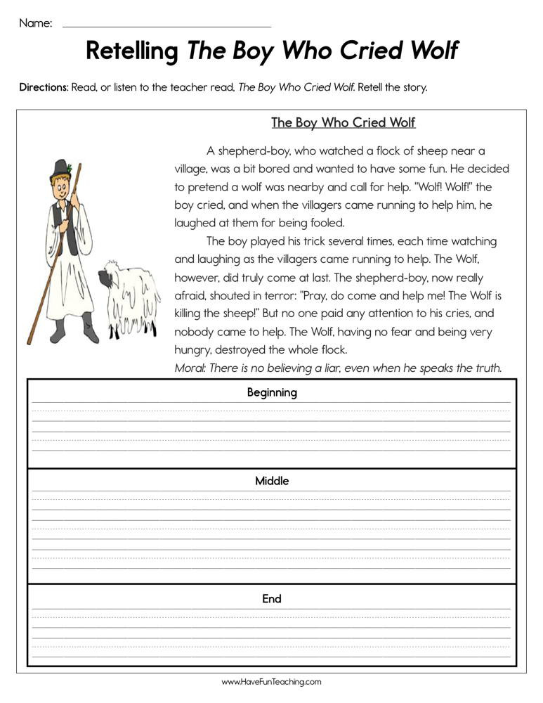 retelling the boy who cried wolf worksheet
