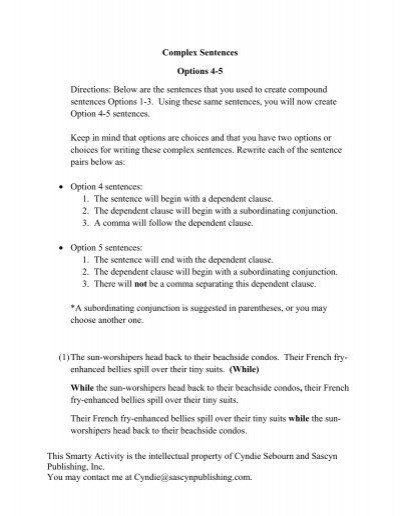 Writing Complex Sentences Worksheets Plex Sentences Options 4 5 Worksheet Pdf Story Bayou