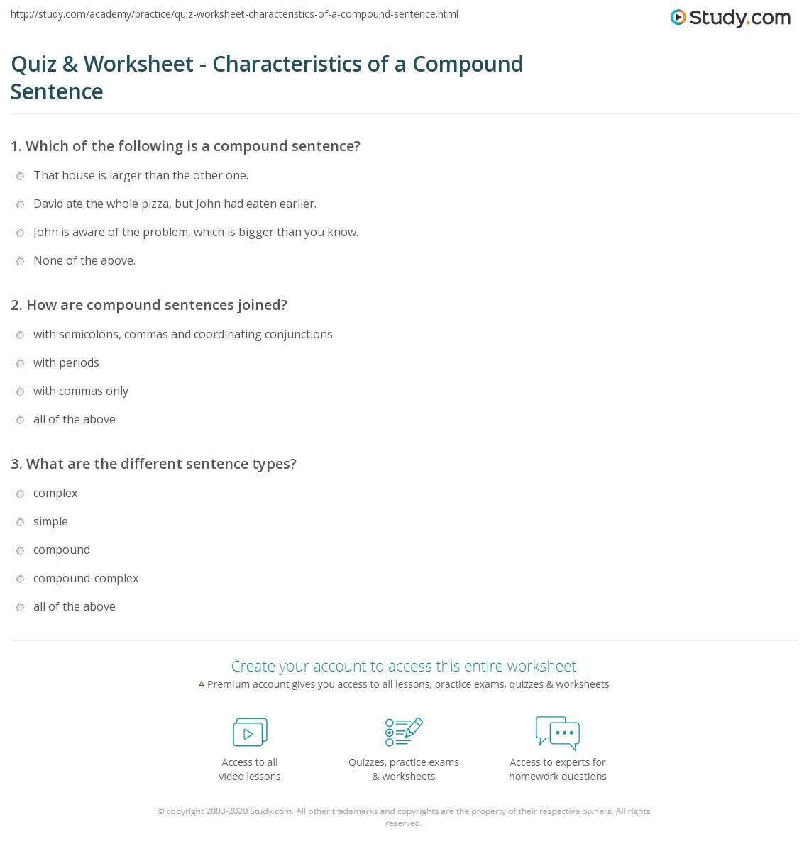 Writing Compound Sentences Worksheet Quiz & Worksheet Characteristics Of A Pound Sentence
