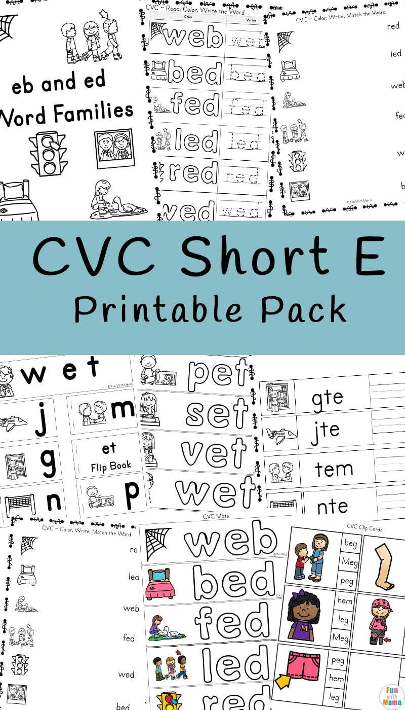 Writing Cvc Words Worksheets Cvc Short E Words Worksheets Fun with Mama