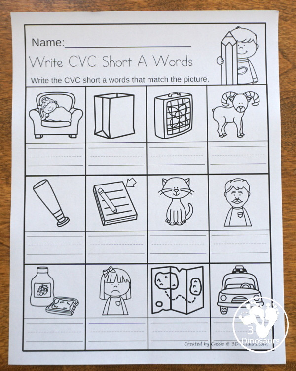 cvc write the word short vowels1