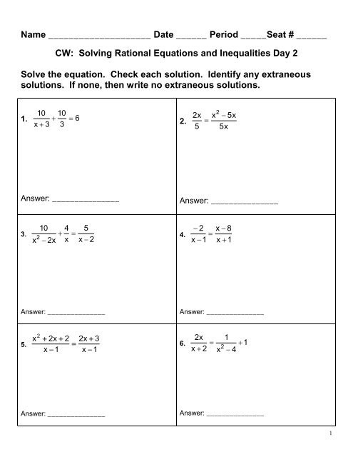 solving rational equations and inequalities day 2