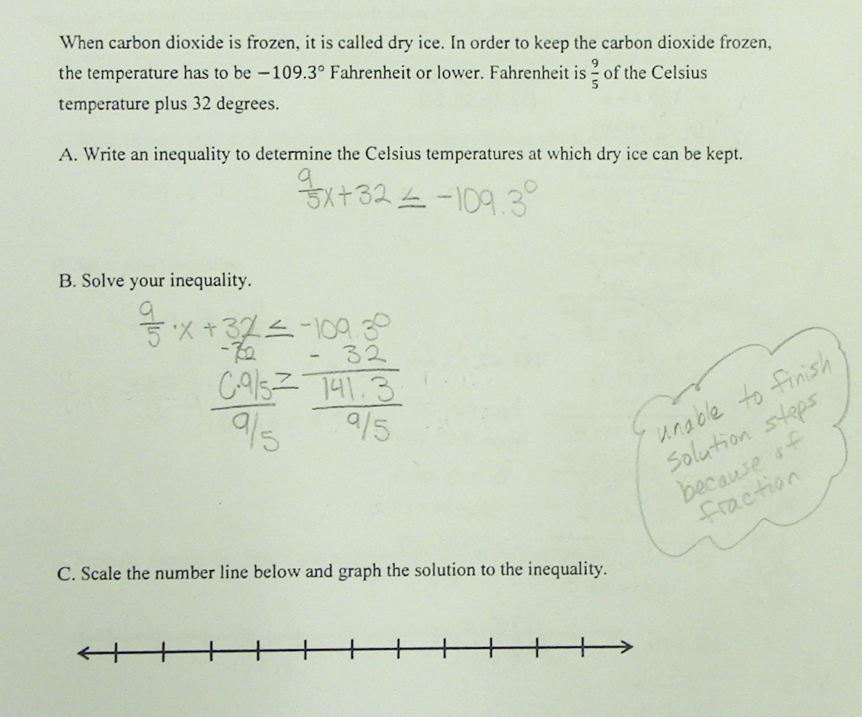 write an inequality worksheet with answer zb