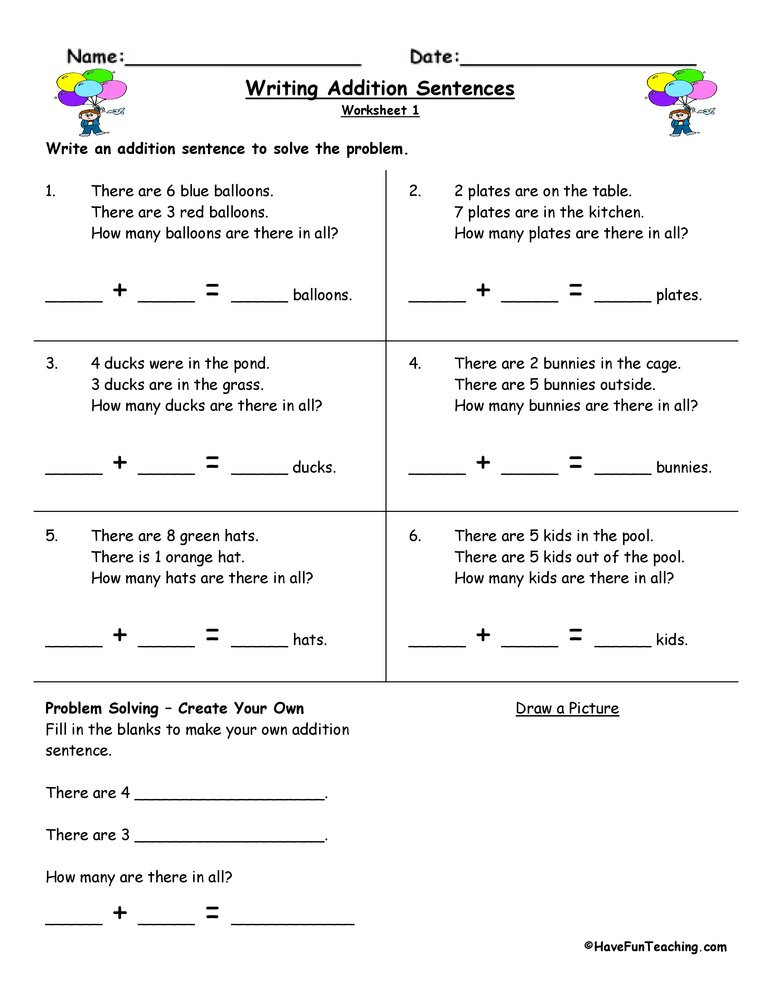 Writing Equations Practice Worksheet Writing Addition Sentences Worksheet