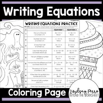 Writing Equations Coloring Worksheet 6 EE 6 7 EE 4 With